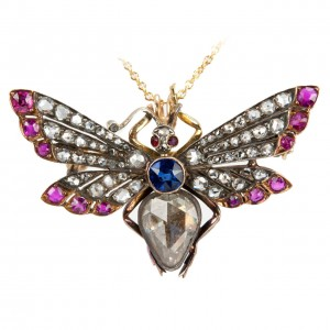 Victorian Butterfly Necklace with Diamonds, Rubies, and Sapphires
