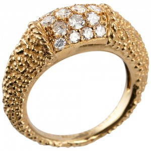 Van Cleef & Arpels Philippine Diamond and Textured Gold Ring