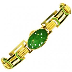 Art Deco Gold and Enamel Link Bracelet with Carved Jade