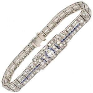 Art Deco Diamond and Sapphire Platinum Bracelet Circa 1930s