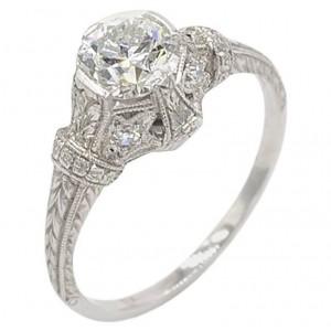 Antique 0.81 Carat Old European Cut Diamond and Platinum Engagement Ring