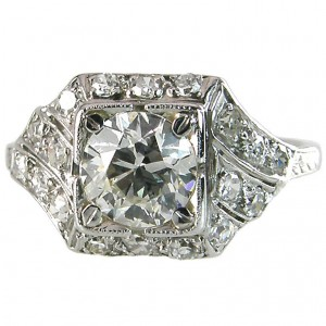 Art Deco Engagement ring 1.00ct I-SI1 (GIA)