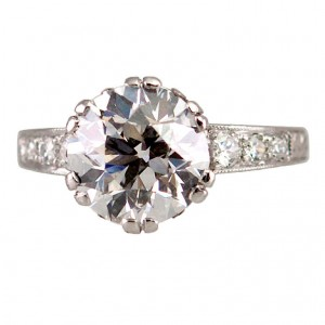 Edwardian 3.13 Carat Old European Cut Diamond and Platinum Ring