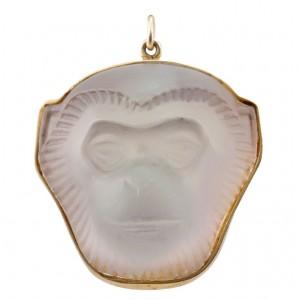 Lalique Crystal Monkey Face Pendant