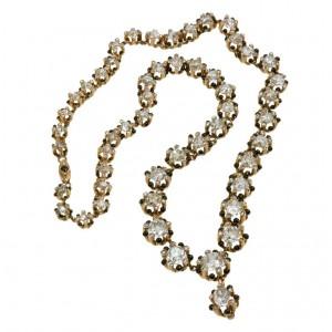 Victorian Old Mine Cut Diamond 18K Gold Necklace