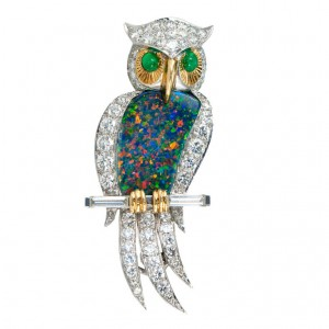 Opal Diamond Owl Pin
