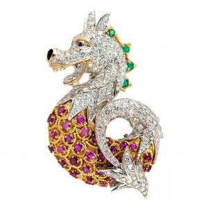 Ruby Diamond Dragon Brooch