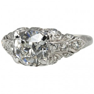 1.56 Carat Platinum Art Deco Engagement Ring