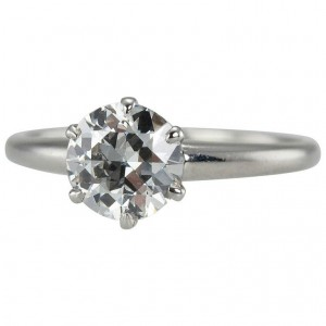 1.01 Carat Diamond Platinum Solitaire Ring 1930s