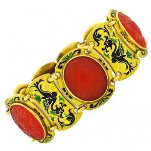 Art Deco Carnelian Chinoiserie Gold Bracelet