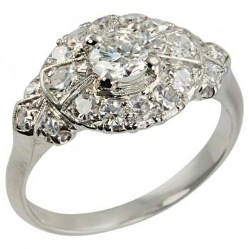 1940s Diamond Platinum Bow-Shaped Ring