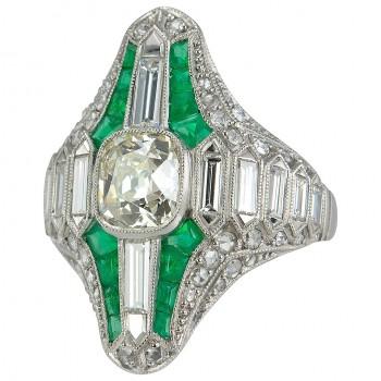 Emerald Diamond Platinum Navette Ring