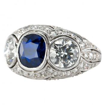 Three-Stone Natural Sapphire and Diamond Platinum Ring, c1930s
