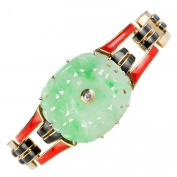 Cartier Art Deco Jade and Enamel Gold Bracelet