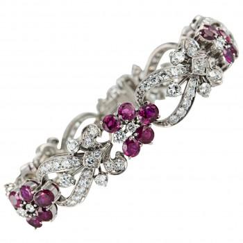 Tiffany & Co. Diamond and Ruby Floral Bracelet