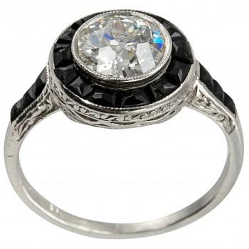 1.13 Carat Diamond and Onyx Art Deco Ring