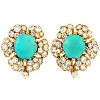 David Webb Turquoise and Diamond Cluster Gold Earrings