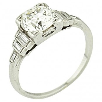 Art Deco Platinum 1.27ct European Cut EGL certified Engagement Ring