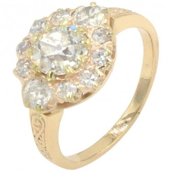 Victorian Diamond Cluster Ring in 14K Yellow Gold Circa 1900