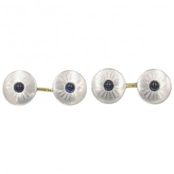 Sapphire Cabochon Cufflinks in Platinum and 14K Gold Circa 1920