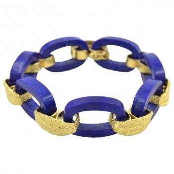 Vintage 1960s Lapis Lazuli and 18K Gold Link Bracelet