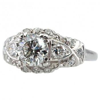 1.17 Carat Diamond Art Deco Platinum Engagement Ring circa 1930