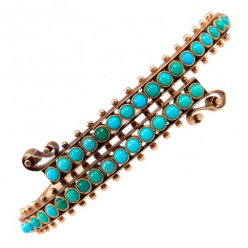 Victorian 14K Gold Turquoise Bypass Bangle Bracelet
