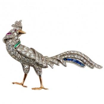 Diamond Rooster Brooch