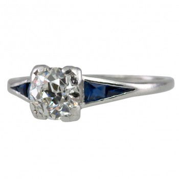 0.91 Carat Old European Cut Diamond and Sapphire Platinum Art Deco Ring