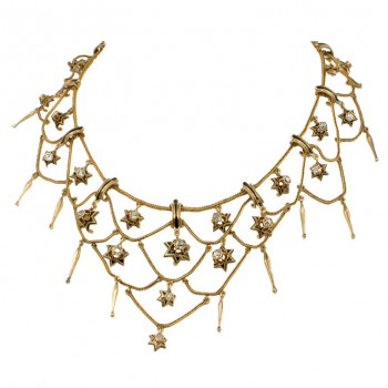 French Victorian Diamond Star Necklace