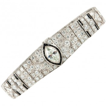 Art Deco Onyx Marquise Diamond Link Bracelet